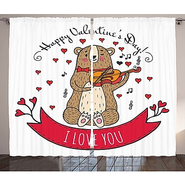 Valentines Day Graphic Print and Text Semi-Sheer Rod Pocket Curtain Panels (Set of 2)