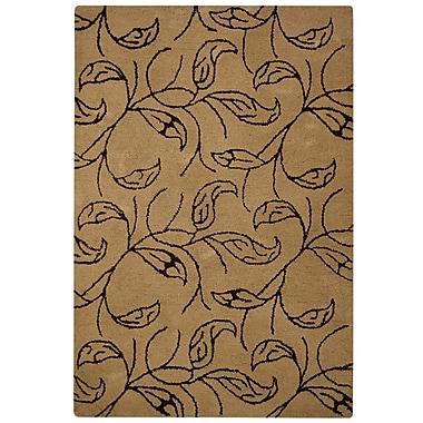 Winston Porter Micaela Floral Hand-Tufted Beige/Brown Area Rug; 4' x 6'