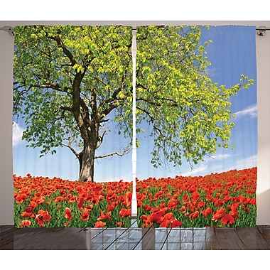 Torrey Landscape Graphic Print and Text Semi-Sheer Rod Pocket Curtain Panels (Set of 2)