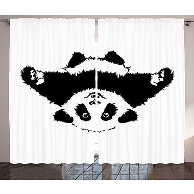 Joellen Cute Panda Graphic Print and Text Semi-Sheer Rod Pocket Curtain Panels (Set of 2)