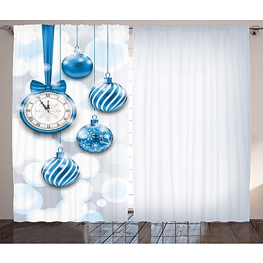 Latitude Run Blakley Clock Graphic Print and Text Semi-Sheer Rod Pocket Curtain Panels (Set of 2)