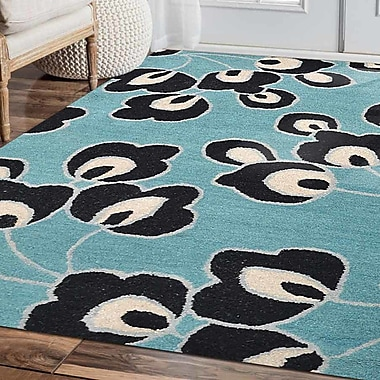 Ebern Designs Staci Floral Hand-Tufted Wool Blue Area Rug; 5' x 8'
