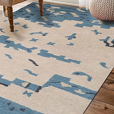 Ebern Designs Jaimie Contemporary Hand-Tufted Wool Beige/Blue Area Rug; 5' x 8'