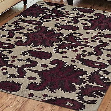 Ebern Designs Rebeca Hand-Tufted Wool Cream/Brown Area Rug; Square 6'