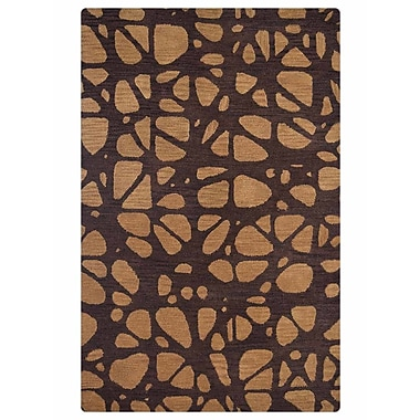 Latitude Run Angell Contemporary Hand-Tufted Brown/Beige Area Rug; 5' x 8'
