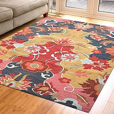 Latitude Run Anglin Floral Hand-Tufted Wool Gold/Black Area Rug; 5' x 8'