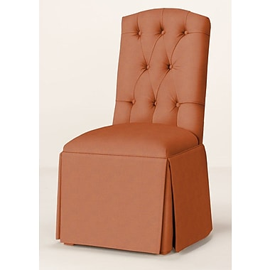 Red Barrel Studio Pearce Diamond Tufted Skirted Parsons Chair; Orange