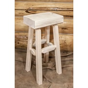 Loon Peak Abella 30'' Pine Wood Bar Stool; Clear Lacquer Finish