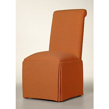 Latitude Run Arvidson Solid Back Skirted Parsons Chair; Orange