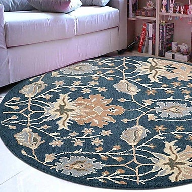 Winston Porter Yessenia Hand-Tufted Wool Blue Area Rug; Round 5'