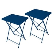 Ebern Designs Yessenia Cafe Tray Table (Set of 2); Snorkel Blue
