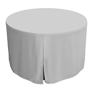 Tablevogue 60'' W Fitted Round Tablecover; Silver