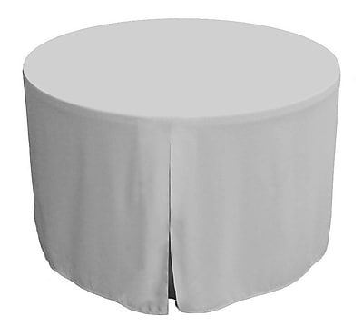 Tablevogue 72'' W Fitted Round Tablecover; Silver