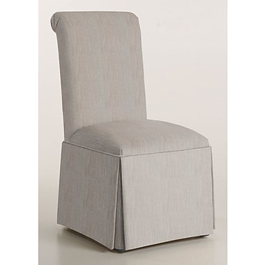 Latitude Run Arvidson Solid Back Skirted Upholstered Dining Chair; Stone
