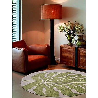 Bayou Breeze Rhoda Floral Hand-Tufted Beige/Green Area Rug; Round 8'