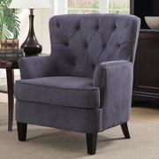 Alcott Hill Alpha Tufted Arm Chair; Gray