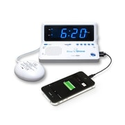 Sonic Alert Rise 'n Shine Portable Dual Alarm Clock with USB Charging, White (SBT625SS)