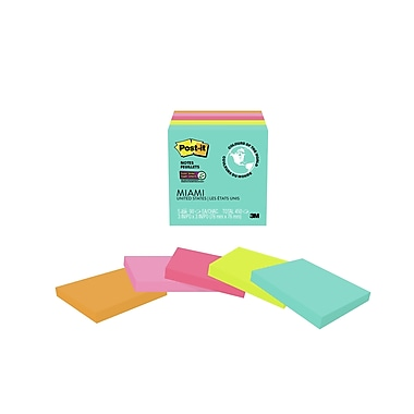 Post-it® Super Sticky Notes, Miami Collection, 3