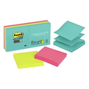 Post-it® - Feuillets super collants en éventail, collection Miami, 3 po x 3 po, bloc/90 feuillets, paq./6 blocs