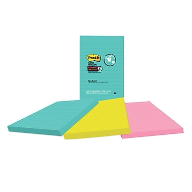 Post-it® - Feuillets super collants, collection Miami, 4 po x 6 po, bloc/90 feuillets, paq./3 blocs