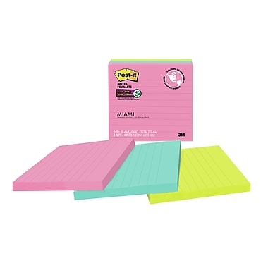 Post-it® - Feuillets super collants, collection Miami, 4 po x 4 po, bloc/90 feuillets, paq./3 blocs