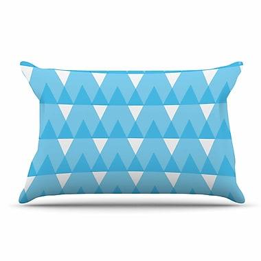 East Urban Home Jackie Rose 'Yellow Triangles' Custard Pillow Case; Cyan/Blue