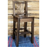 Loon Peak Abella 30'' Square Bar Stool; Stain & Lacquer Finish