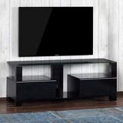 Latitude Run Atalanta Modern Wood and Glass TV Stand; Black
