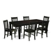 Darby Home Co Beesley 7 Piece Rectangular Wood Dining Set; Black