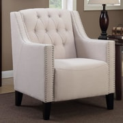 Alcott Hill Isabella Tufted Arm Chair; Beige