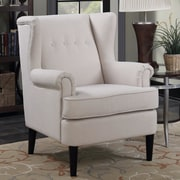 Alcott Hill Christian Wingback Arm Chair; Beige