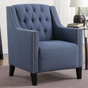 Alcott Hill Isabella Tufted Arm Chair; Blue