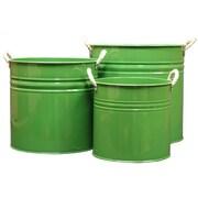 Houston International Enameled Galvanized 3 Piece Planter ; Sage