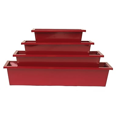 Houston International Enameled Galvanized Rectangular 4 Piece Metal Planter Box Set; Red