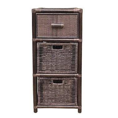 Bayou Breeze Sela Dennis Rattan Wicker 3 Drawer Storage Chest; Dark Brown