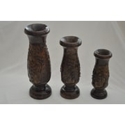 Bayou Breeze Hand Carved Wooden 3 Piece Table Vase Set