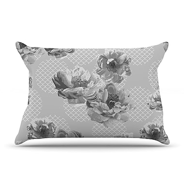 East Urban Home Pellerina Design 'Lace Peony' Floral Pillow Case; Gray