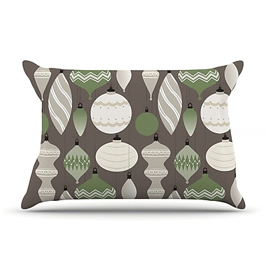 East Urban Home 'Mixed Ornaments' Pillow Case; Brown/Green
