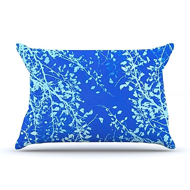 East Urban Home Iris Lehnhardt 'Twigs Silhouette' Pillow Case; Aqua/Blue
