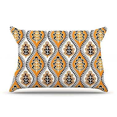 East Urban Home Jacqueline Milton 'Oak Leaf' Floral Pillow Case; Orange