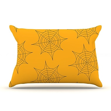 East Urban Home 'Spiderwebs' Pillow Case; Yellow
