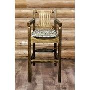Loon Peak Abella 30'' Solid Wood Bar Stool; Wildlife Upholstered