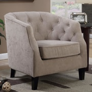 Latitude Run Aguilera Tufted Arm Chair; Taupe