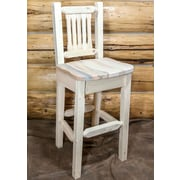 Loon Peak Abella 30'' Square Bar Stool; Clear Lacquer Finish