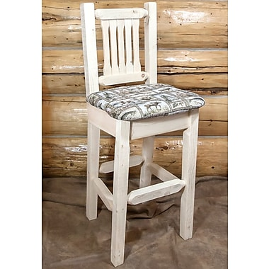 Loon Peak Abella 30'' Clear Lacquer Bar Stool; Clear Lacquer Finish