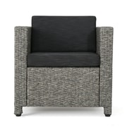 Home Loft Concepts Nicolino Outdoor Wicker Club Chair; Mixed Black