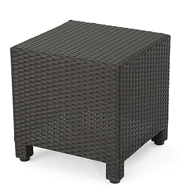 Home Loft Concepts Nicolino Outdoor Wicker Side Table; Dark Brown