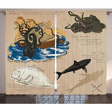 Latitude Run Cedrick Graphic Print & Text Semi-Sheer Rod Pocket Curtain Panels (Set of 2)