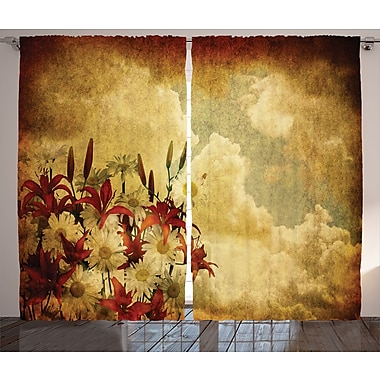 Red Barrel Studio Trexlertown Graphic Print and Text Semi-Sheer Rod Pocket Curtain Panels (Set of 2)