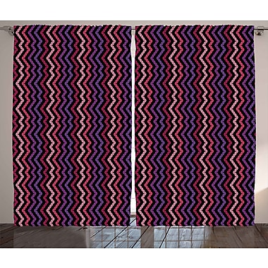 Latitude Run Jammie ModernGraphic Print and Text Semi-Sheer Rod Pocket Curtain Panels (Set of 2)